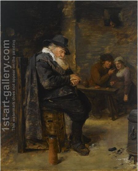 An Elderly Man Sleeping In An Inn With An Amorous Couple In The Background by Adriaen Brouwer - Reproduction Oil Painting