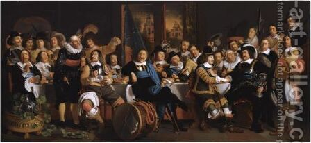 The Celebration Of The Peace Of Munster, 18 June 1648, In The Headquarters Of The Crossbowmen's Civic Guard by (after) Bartholomeus Van Der Helst - Reproduction Oil Painting