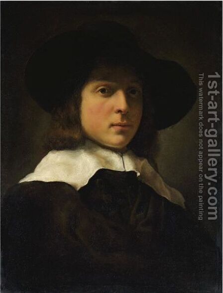 A Portrait Of A Young Man Wearing A Hat And White Ruff by Govert Teunisz. Flinck - Reproduction Oil Painting