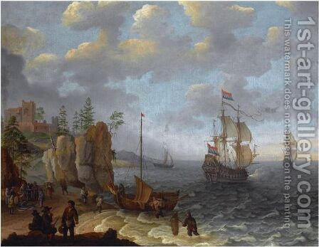 A Beach Scene With Fishermen Unloading The Catch, Two Dutch Merchant Ships Beyond by Isaac Willaerts - Reproduction Oil Painting