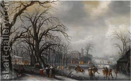 A Winter Landscape With Elegant Figures Conversing On A Path And Skating On The Ice, A Fortified Town Beyond by (after) Adriaen Pietersz. Van De Venne - Reproduction Oil Painting