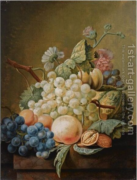A Still Life With White And Blue Grapes, Peaches, A Pumpkin And A Walnut, All On A Wooden Ledge by Cornelis Johannes Schaalje - Reproduction Oil Painting