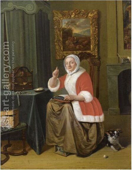 A Lady Sitting In An Interior, Embroidering At A Table With A Bird In A Birdcage, Together With A Dog by (after) Michiel Van Musscher - Reproduction Oil Painting