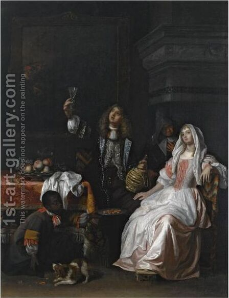 An Elegant Couple Drinking In An Interior, Together With A Servant Offering Biscuits And An Elderly Woman by (after) Reynier De La Haye - Reproduction Oil Painting