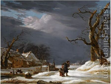 A Winter Landscape With A Man And A Child Walking Through The Snow Near A Farmhouse by Jacob van Strij - Reproduction Oil Painting