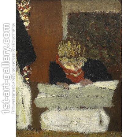 Jeune Femme Cousant by Edouard  (Jean-Edouard) Vuillard - Reproduction Oil Painting
