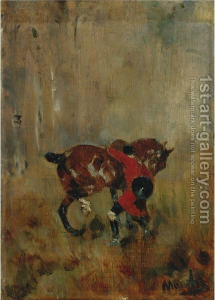 Cavalier De Chasse A Courre Ressanglant Son Cheval by Toulouse-Lautrec - Reproduction Oil Painting