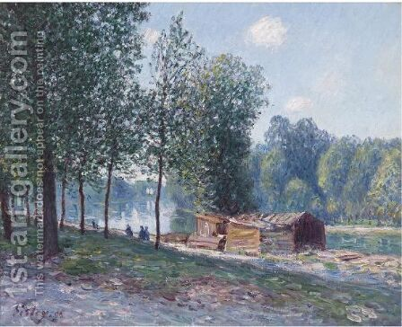 Cabanes Au Bord Du Loing, Effet Du Matin by Alfred Sisley - Reproduction Oil Painting
