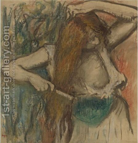 Femme Se Coiffant by Edgar Degas - Reproduction Oil Painting