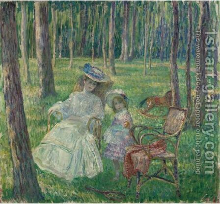 Mere Et Enfant Dans Le Parc by Henri Lebasque - Reproduction Oil Painting
