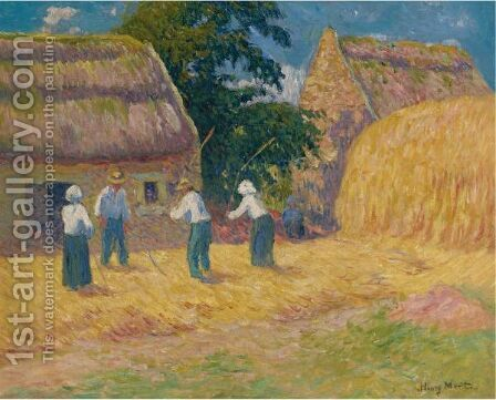 Le Battage Du Ble by Henri Moret - Reproduction Oil Painting