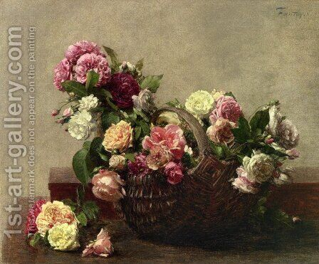 Panier De Roses by Ignace Henri Jean Fantin-Latour - Reproduction Oil Painting