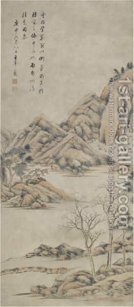 Mountain landscape by Dong Qichang - Reproduction Oil Painting