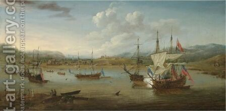 British Vessels At Anchor In Annapolis Royal Harbour River, Nova Scotia, With A Vice-Admiral Of The Red Firing A Salute by (after) Samuel Scott - Reproduction Oil Painting