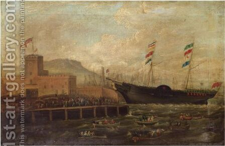 Launch Of The Steamship Aurora, From Belfast Harbour 1839 by Hugh Frazer - Reproduction Oil Painting