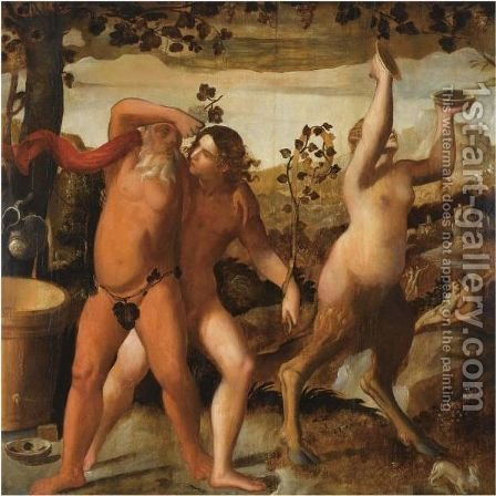 A Bacchanal Scene With The Drunken Silenus And Bacchants Cavorting In A Vineyard by (after) Dosso Dossi - Reproduction Oil Painting