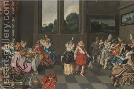 A Banqueting Scene With An Elegant Couple Dancing by (after) Willem Buytewech - Reproduction Oil Painting
