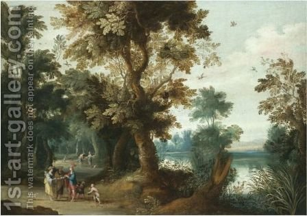 A Wooded River Landscape With Elegant Figures Having Their Fortune Told by (after) Jasper Van Der Laanen - Reproduction Oil Painting