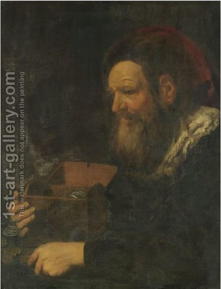 Portrait Of A Banker, Half Length, Holding A Money Box by (after) Jan Liss - Reproduction Oil Painting