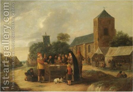 A Village Fair With A Quack Doctor Entertaining A Crowd by Bartholomeus Molenaer - Reproduction Oil Painting