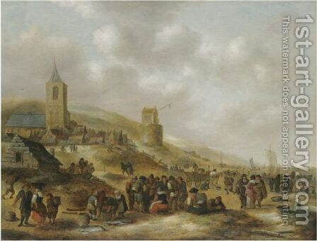 A View Of The Beach At Scheveningen With Fishermen Selling Their Catch by Claes Molenaar (see Molenaer) - Reproduction Oil Painting