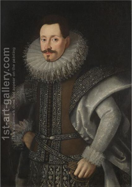 Portrait Of A Nobleman, Half Length, Wearing A Brown And Silver Tunic by (after) Tiberio Titi - Reproduction Oil Painting