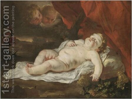 The Christ Child Sleeping In A Landscape Attended By Putti by (after) Luca Giordano - Reproduction Oil Painting