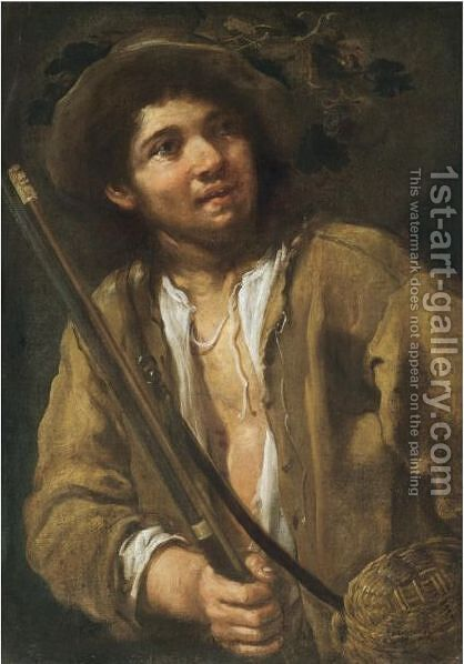 A Young Hunter, Half Length, Holding A Musket And A Basket by Bernhard Keil - Reproduction Oil Painting