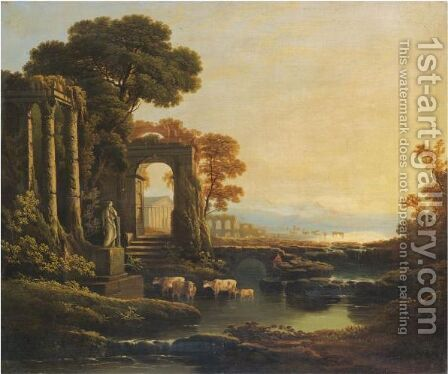 An Extensive River Landscape With Classical Ruins by (after) Claude Lorrain (Gellee) - Reproduction Oil Painting