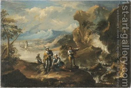 A Coastal Landscape With Figures Beside A Cascade by Antonio Marini - Reproduction Oil Painting