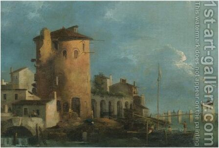 A Capriccio View Of A Mediterranean Town, A Boat Mooring Beside A Tower by (after) Giovanni Migliara - Reproduction Oil Painting