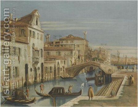 Venice, A View Of A Canal With Gondoliers by (after) (Giovanni Antonio Canal) Canaletto - Reproduction Oil Painting