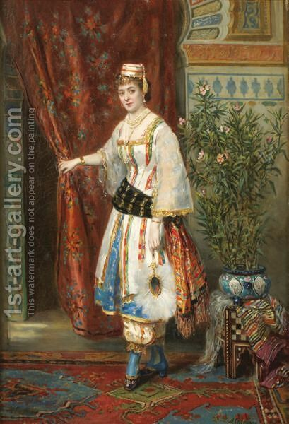 Young Woman In An Oriental Costume by Herman Maurice Cossmann - Reproduction Oil Painting