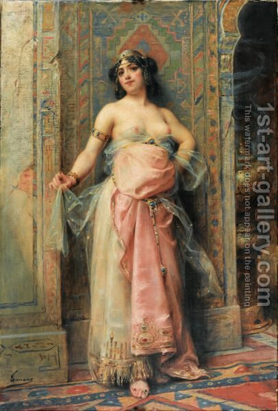 A Young Oriental Girl With A Perfume Burne by Henri Adriene Tanoux - Reproduction Oil Painting