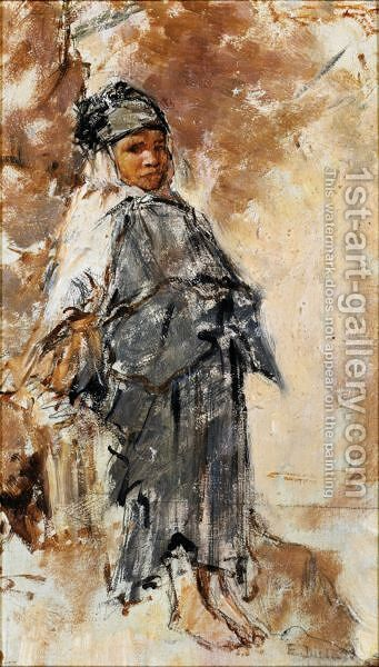Young Girl In Laghouat by Alphonse Etienne Dinet - Reproduction Oil Painting