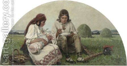 Rest From The Harvest by Jaroslav Friedrich Julius Vesin - Reproduction Oil Painting