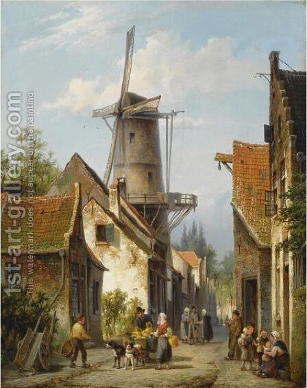 Figures In The Streets Of A Dutch Town by Cornelis Christiaan Dommelshuizen - Reproduction Oil Painting
