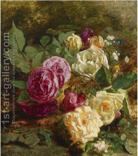 A Still Life With Roses by Adriana-Johanna Haanen - Reproduction Oil Painting