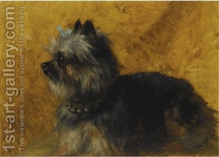 A Yorkshire Terrier by Henriette Ronner-Knip - Reproduction Oil Painting