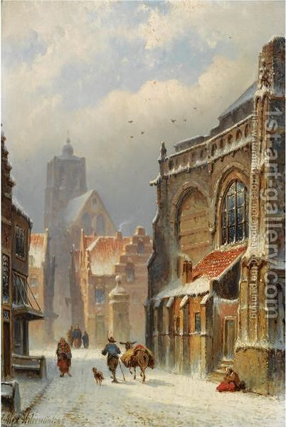 Figures In The Streets Of A Wintry Town by Eduard Alexander Hilverdink - Reproduction Oil Painting