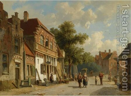 A Village Street 2 by Adrianus Eversen - Reproduction Oil Painting