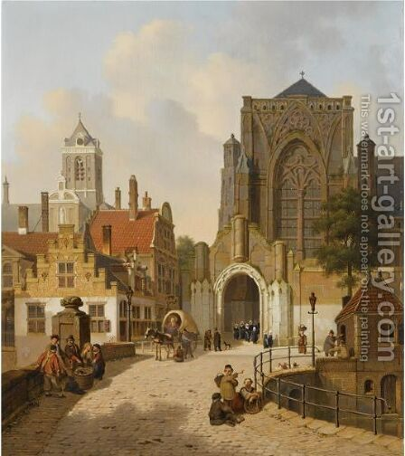 Many Figures In A Dutch Town by Jan Hendrik Verheijen - Reproduction Oil Painting