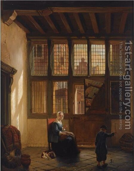 Mother And Child Playing Top In An Interior by Hubertus van Hove - Reproduction Oil Painting