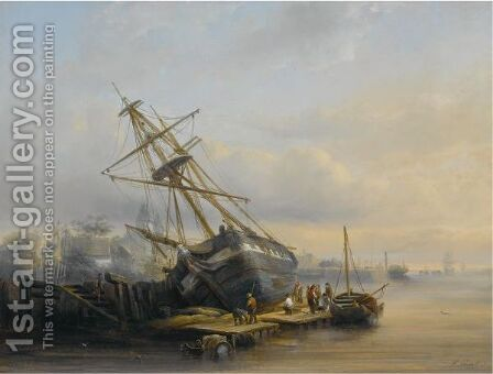 Figures At Work In A Harbour by Henry Adolphe Schaep - Reproduction Oil Painting
