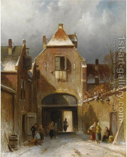 Figures In The Snow Covered Streets Of A Dutch Town by Charles Henri Leickert - Reproduction Oil Painting