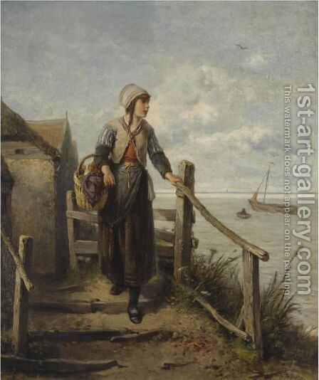 A Fisher Woman On The Island Marken by Jan Mari Henri Ten Kate - Reproduction Oil Painting