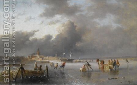 Skaters On A Frozen Waterway, A 'Koek En Zopie' In The Distance by Jan Evert Morel - Reproduction Oil Painting