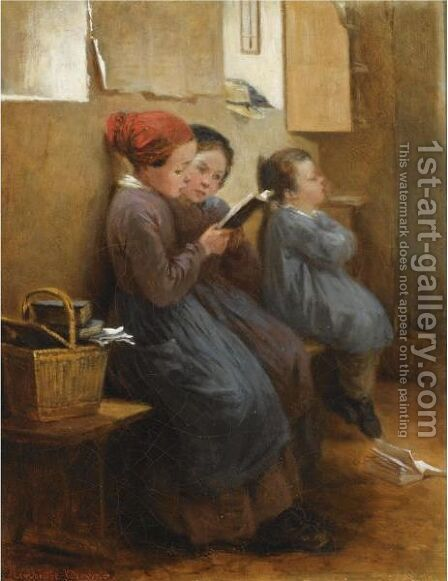 The Reading Lesson by Henriette, Hon. R.I. Browne - Reproduction Oil Painting