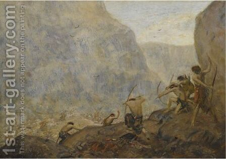 Warriors In The Mountains by Marius Bauer - Reproduction Oil Painting
