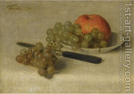 A Still Life With An Apple And Grapes by Ignace Henri Jean Fantin-Latour - Reproduction Oil Painting